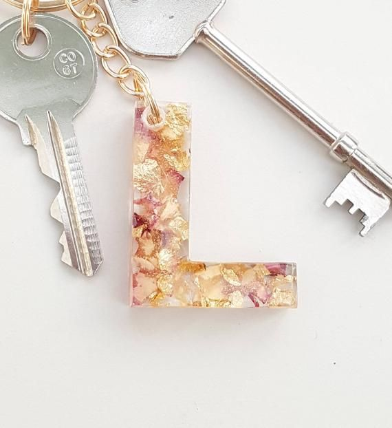 Pink And Cream Rose Petals With Gold Leaf Initial Keyring Etsy In 2020 Cream Roses Car Accessory Gifts Keychain