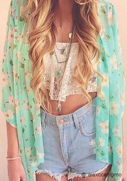 Floral Crop Sleeves Kimono - Sheer Chiffon Top
