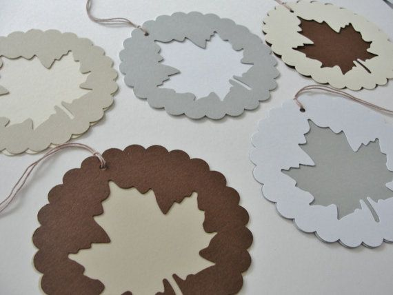 Autumn Fall Scalloped Round Paper Leaf Gift Tags by CutOutTheFun,