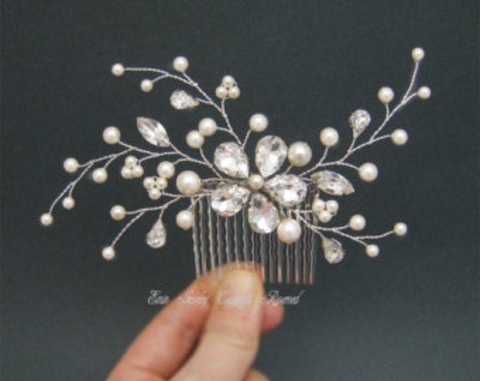 Boda nupcial Hiar peine, peines del pelo del Rhinestone Swarovski perlas, accesorios para el cabello, Fascinator, vides de cabello, extensiones de cabello damas de honor