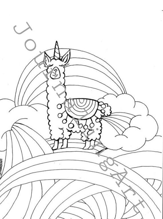 Llamacorn Coloring Page Pdf Printable Art Cartoon Coloring Pages