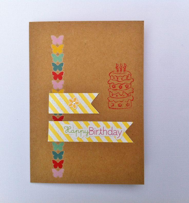 Handmade Birthday Card - Happy Birthday - Colourful Card - Butterflies Card by HandmadeByLana on Etsy