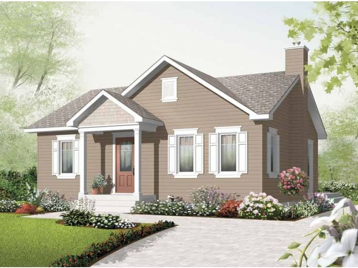 Eplans House Plan: This classic two-bedroom bungalow thoughtfully utilizes every square foot. Columns grace the front entryway, while a shingle roof adds country character. Surprising luxuries abound inside, including a gas f