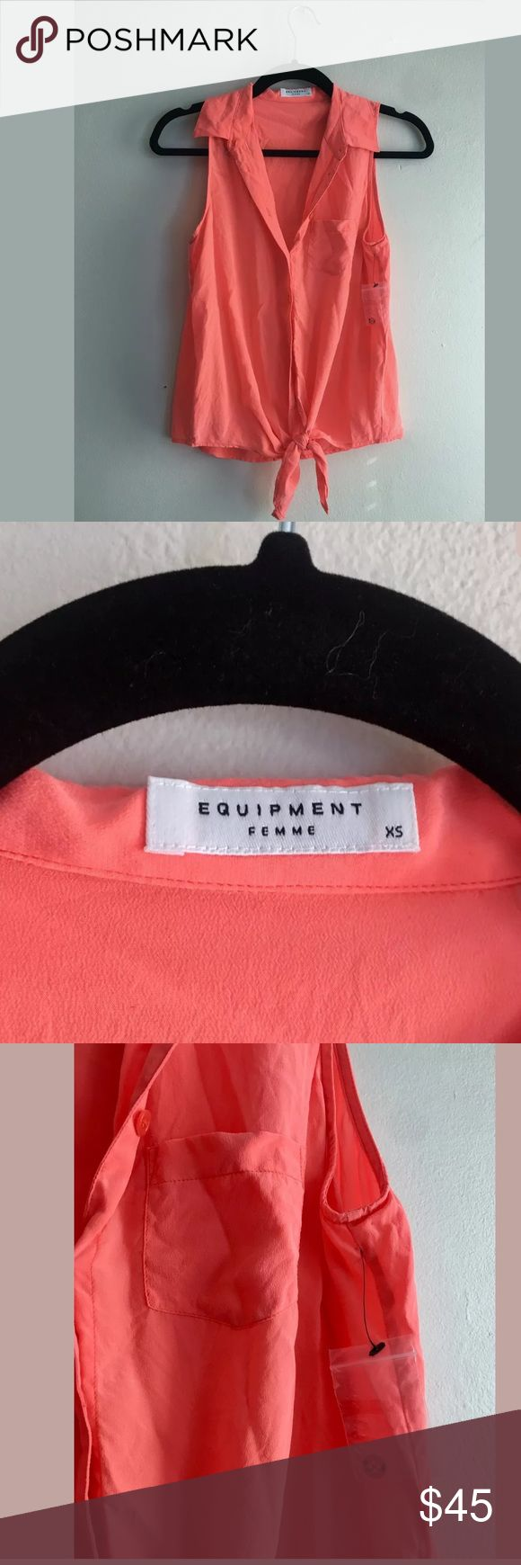 Equipment (NWOT) 100% Silk Coral Button Tie Tank Beautiful top in perfect condition, new without tags!  Losse fit, dress it up or dress it down!!  armpit to armpit: 18 inches total length: 24 inches  message me with any questions :) Equipment Tops Blouses