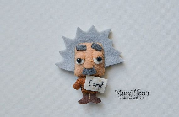 This could turn into a great felt finger puppet! Handmade Eco Friendly Brooch / - Albert Einstein - Scientist / Physicist