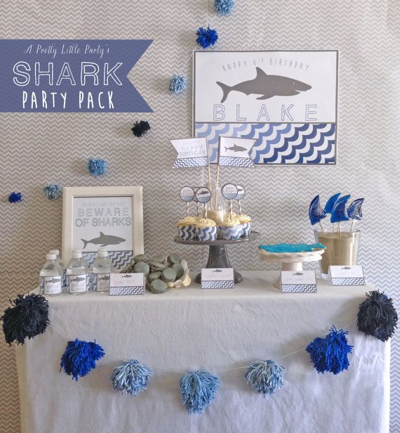 SHARK Birthday Party Pack   Pool or Beach by aprettylittleparty, $13.99 Etsy   Are those shark fin lollipops? Fun to do Jello jiggler fins too.