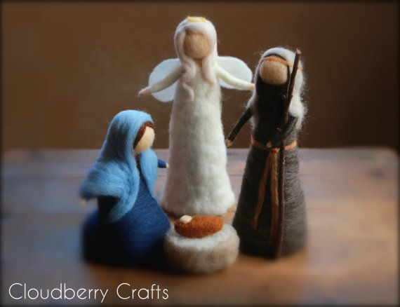 HOLY FAMILY With an ANGEL, Blue, Nativity Scene, Baby Jesus, Mary and Joseph,Needle Felted, Waldorf, Nativity set, One of a kind, Australia