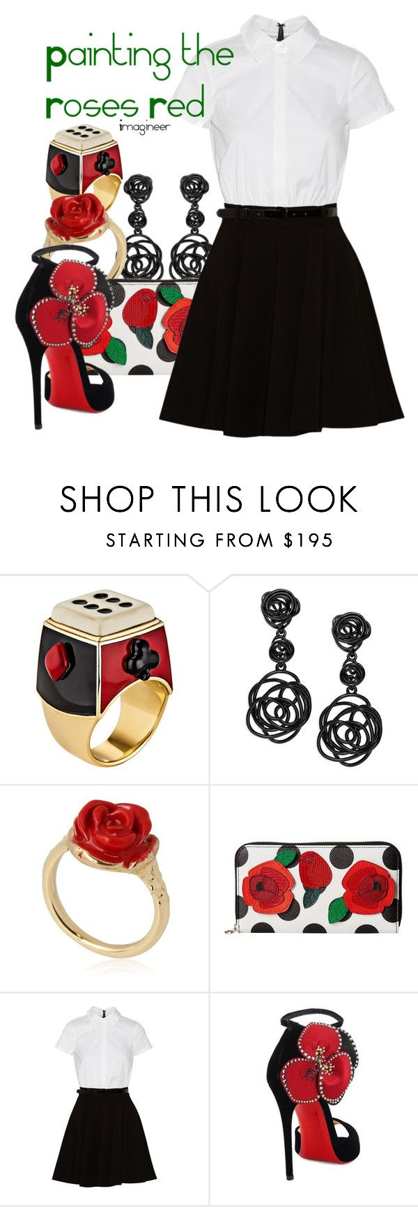 """Painting the Roses Red (Alice in Wonderland)"" by claucrasoda ❤ liked on Polyvore featuring Solange Azagury-Partridge, Oscar de la Renta, LeiVanKash, Dolce&Gabbana, Alice + Olivia and Christian Louboutin"