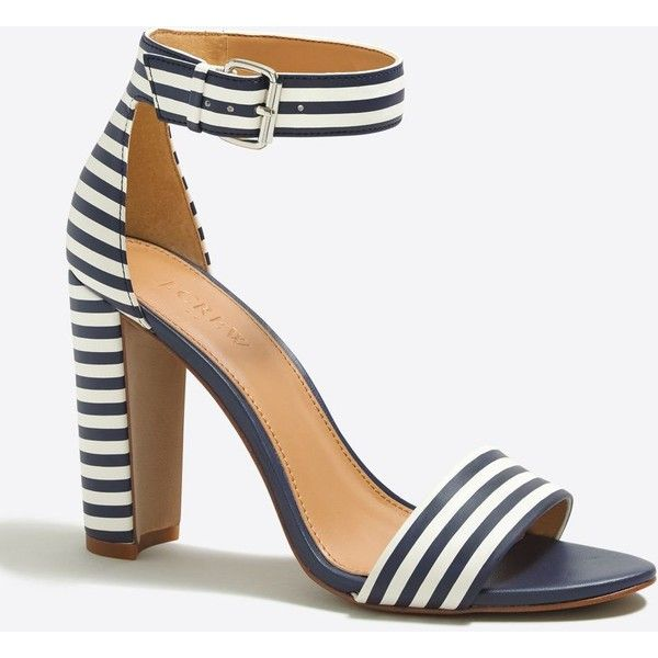 J.Crew Striped chunky-heel sandals ($77) ❤ liked on Polyvore featuring shoes, sandals, heels, high heeled footwear, j crew sandals, synthetic shoes, chunky heel shoes and high heel shoes