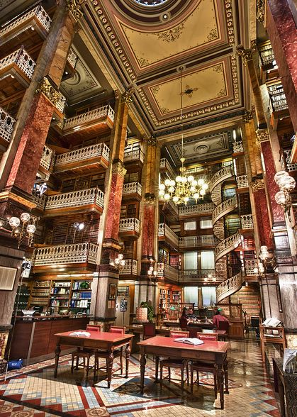 Spiral staircase at State Capitol Law Library in Des Moines, Iowa • photo: Jason Mrachina on Flickr