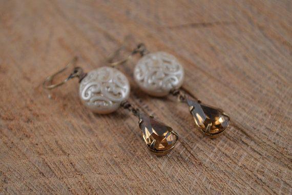 Pendientes Bohemia topacio ahumado perlas de cristal checo