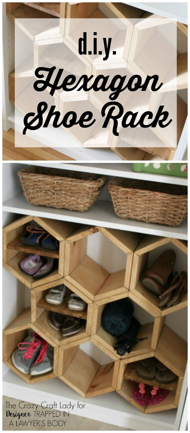 GENIUS! Make a DIY shoe rack using an old bookshelf and making hexagon inserts to hold the shoes! Full tutorial by The Crazy Craft Lady for…