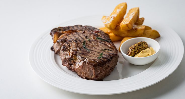 Maille Mustard-Infused Rib Eye by Chef Dominic Chapman. The trio of Maille mustards (Chablis, Wholegrain and Dijon) are made to be stirred into meaty puddles of grilled steak juices and mopped up with oven crisp potatoes!