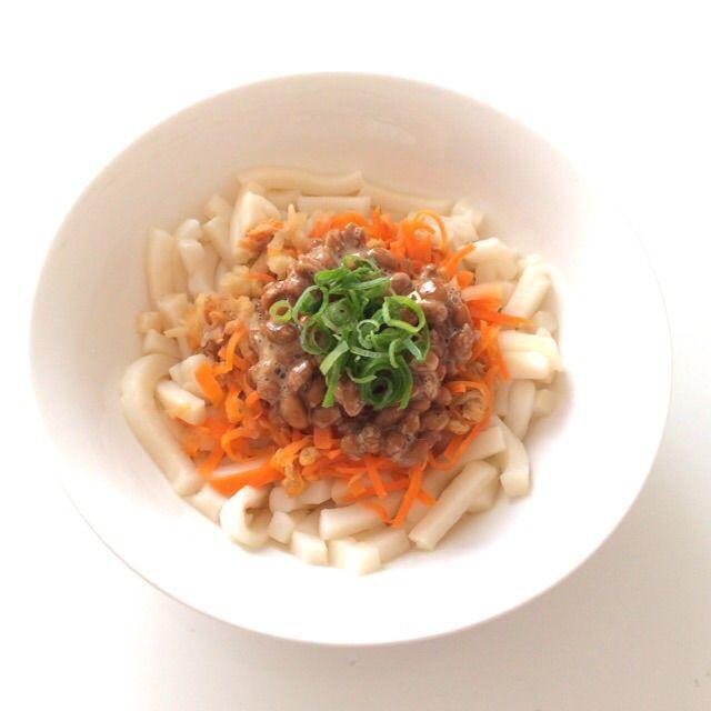 【幼児食】子どもの大好物!栄養たっぷり!簡単調理!三拍子そろった『納豆サラダうどん』レシピ☆