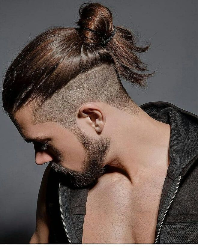 Undercut With Top Knot Man Bun Men S Hairstyles Man Ponytail Long Hair Styles Men Thick Hair Styles