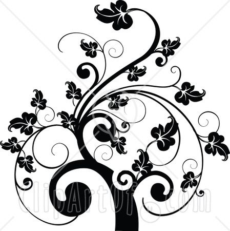 35081-Clipart-Illustration-Of-A-Black-And-White-Leafy-Scroll-Tree-Design