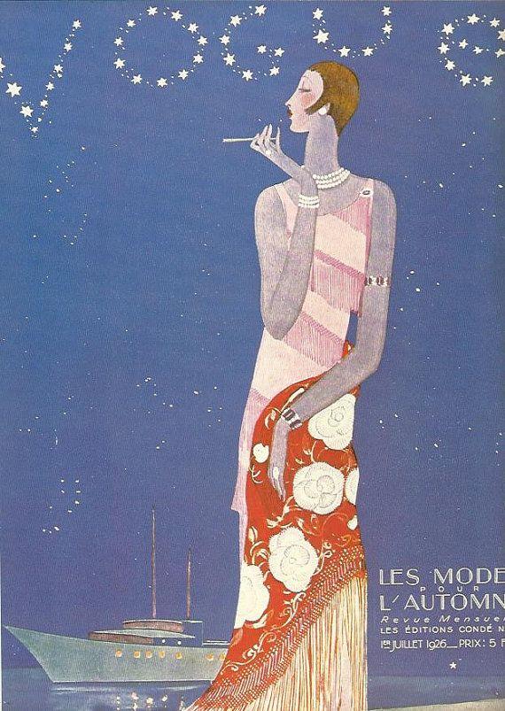 Vogue magazine cover 1926 Les Mode najaar door OLDBOOKSMAPSPRINTS