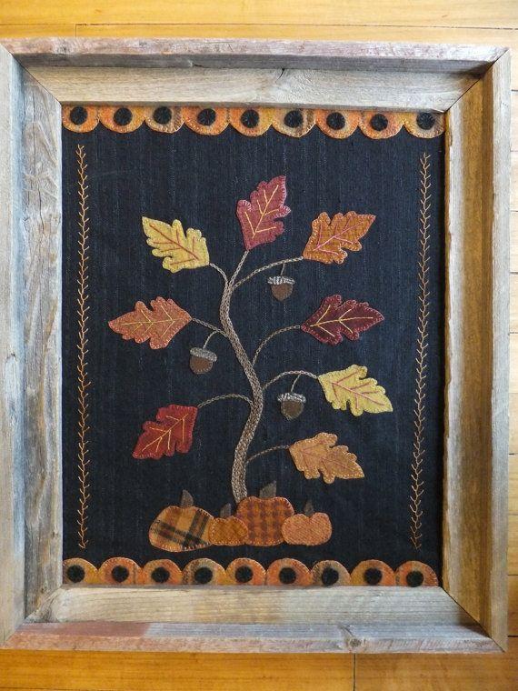 Holly & Ivy, Autumn Splendor, Wool applique wall hanging Pattern