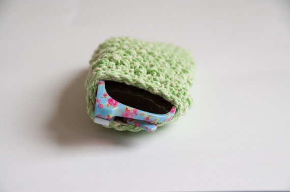 Crocheted sunglass pouch - green. $25.00, via Etsy.