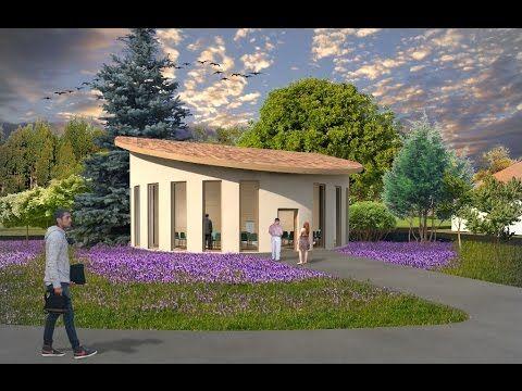 Small semicircle church design and plan. Meria Church Romania