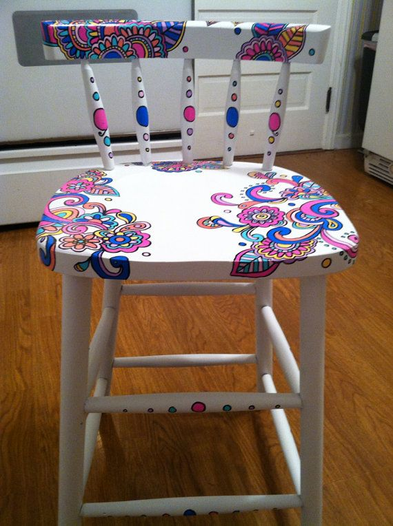 Hand-painted wooden chair by NotSoPlainJaynes on Etsy