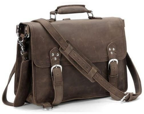 Handcrafted Full Grain Distressed Leather Laptop Briefcase Selvaggio