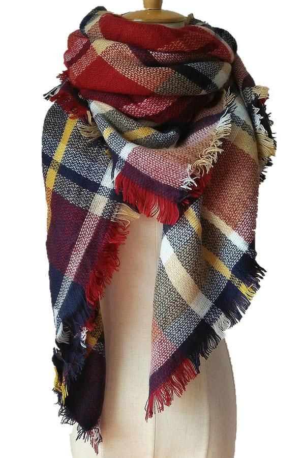 bf53773aa0 Women Plaid Winter Red Grey Strip Shawl Scarves