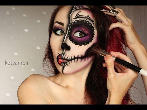 Idea de maquillaje para Halloween. Sugar skull (Сахарный череп) make up tutorial by kotvampir - YouTube
