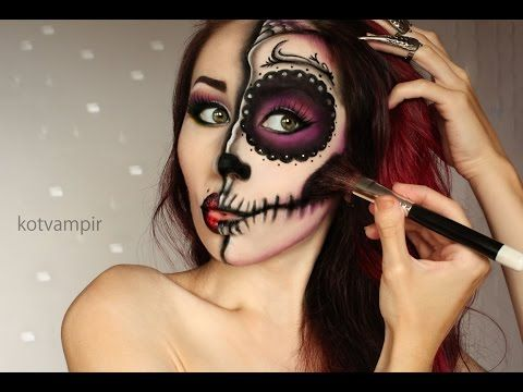 Sugar skull (Сахарный череп) make up tutorial by kotvampir - YouTube