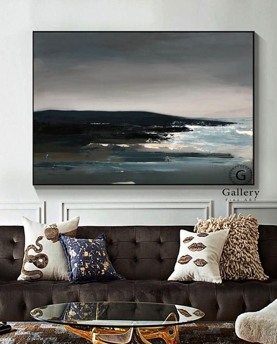 Extra Large Wall Art Landscape Abstract Painting Gray Etsy Large Canvas Art Grey Painting Large Wall Art