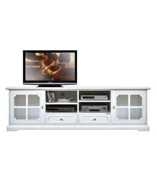 Mobile porta tv in legno laccato bianco con vetrinetti, mobile tv per soggiorno, mobiletto da salotto. codice articolo: 4010-SVG by http://www.styledesign.it/prodotto/mobile-porta-tv-orizzontale-larghezza-2-metri/