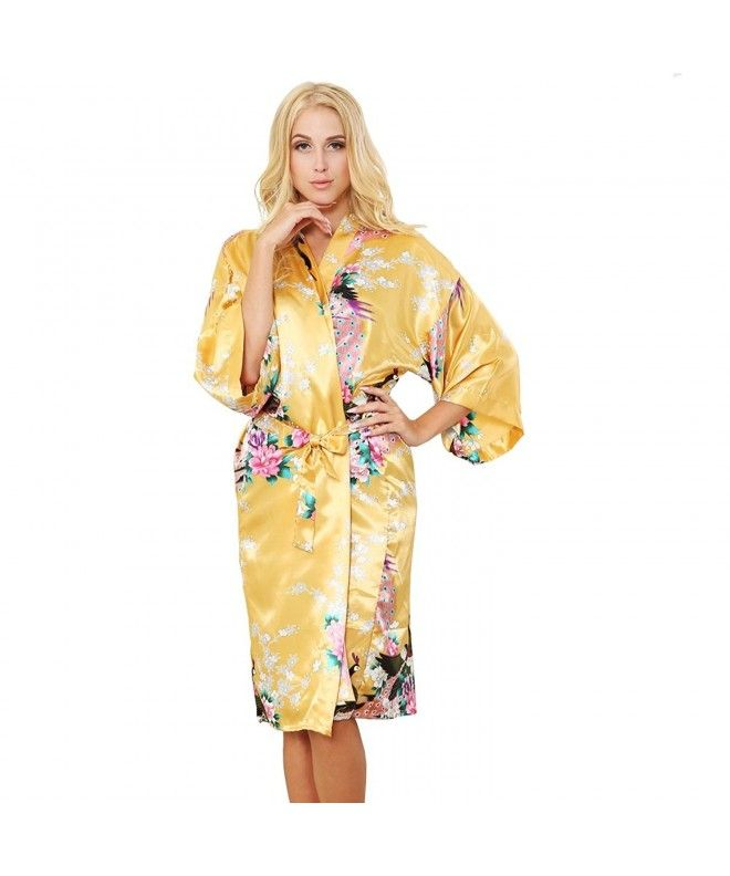 f321c47dc935 Women s Robes Peacock and Blossoms Kimono Satin Nightwear Long Style - Gold  - CS12GH9LHP1