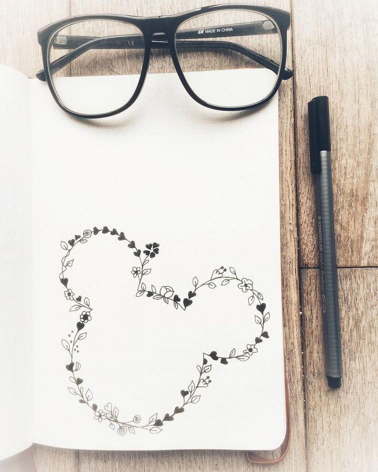 Kugeljournalzeichnungsidee, Blumenzeichnung, Mickey Mouse-Zeichnung.