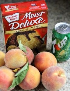 Cake Mix + Soda} Peach Cobbler 1 box cake mix {I used yellow… white or butter also work. Cake mixes without pudding work better} 1 12-oz can of lemon lime soda about 5-6 cups fresh peaches {fresh or canned} Use about two 24-oz cans drained peaches 2 TBSP cinnamon