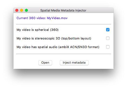 Using the Spatial Media Metadata Injector - Jump Help