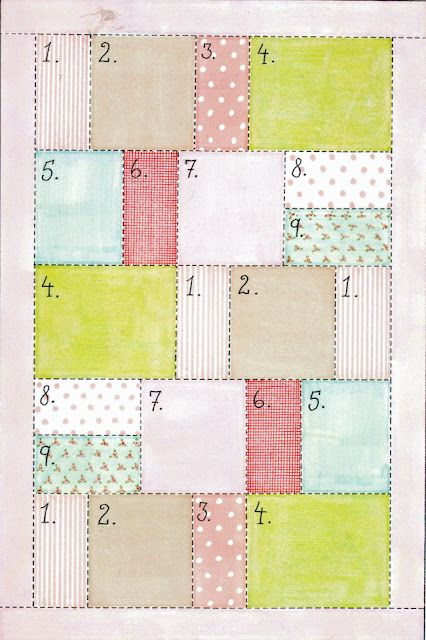 Easy quilt pattern --  count the dashes to measure
