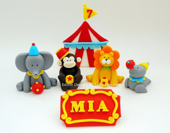 4 Edible Fondant Circus Animals Cake Toppers With Name Sign via Etsy