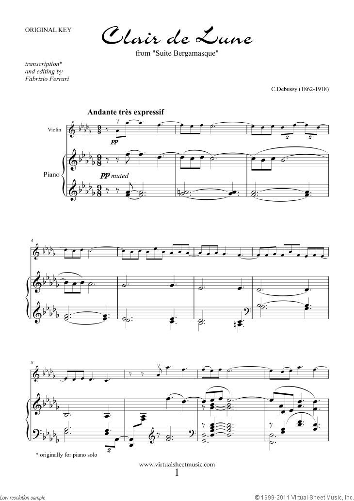 Debussy Clair De Lune Sheet Music For Violin And Piano Pdf In