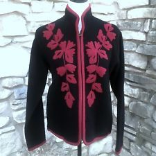 Coldwater Creek Jacket Sz S Black Wool Red Trim Flower Design Zip Up Unlined