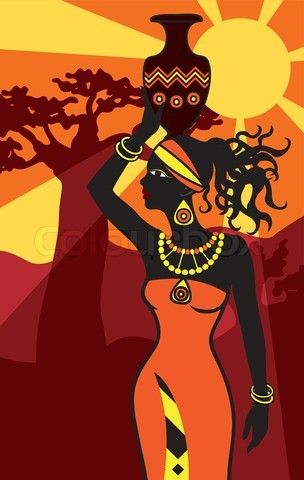 Stock vector of 'african beautiful woman at sunset vertical background'