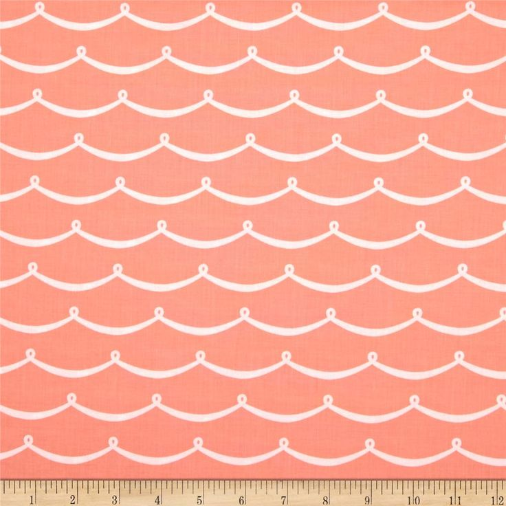 Michael Miller Sea Buddies New Wave Peach from @fabricdotcom  Designed for Michael Miller Fabrics, this fabric is perfect for quilting, apparel and home décor accents.  Colors include peach and white.