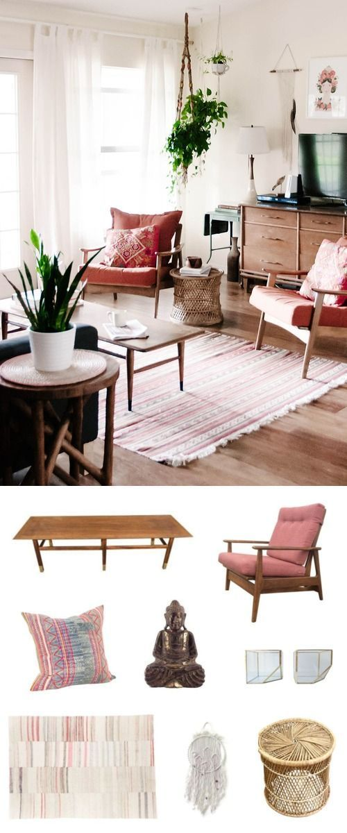 Just How Versatile Is Mid-Century Modern? Let Us Count the Ways... In a space with a totally West Coast, boho vibe, Mid-Century still works its magic. Bohemian-inspired pieces with lots of texture (macrame, wicker), global-inspired patterning, and a zen Buddha sit perfectly beside a classic Mid-Century chair and coffee table.