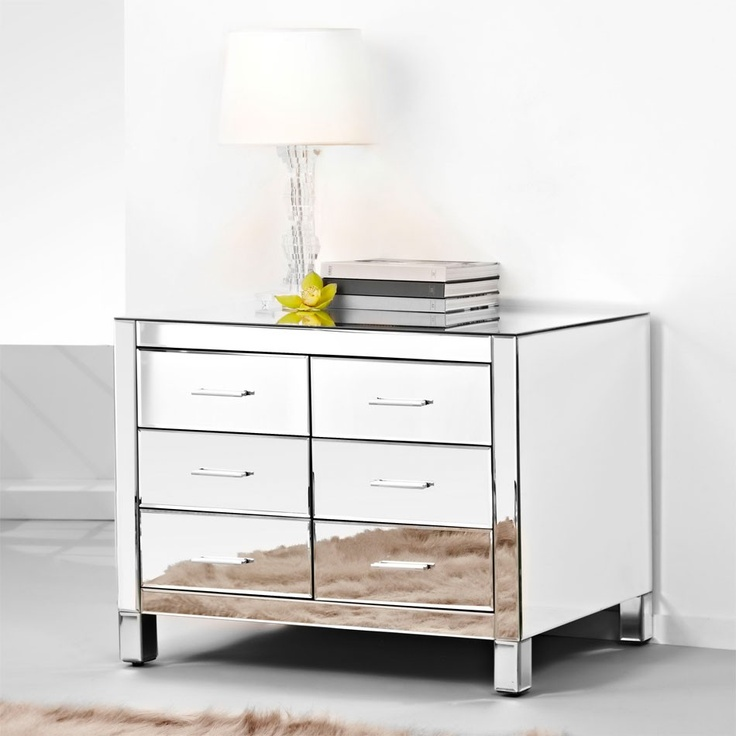 Presidential Low Boy Mirrored Chest Of Drawers, Silver Handles