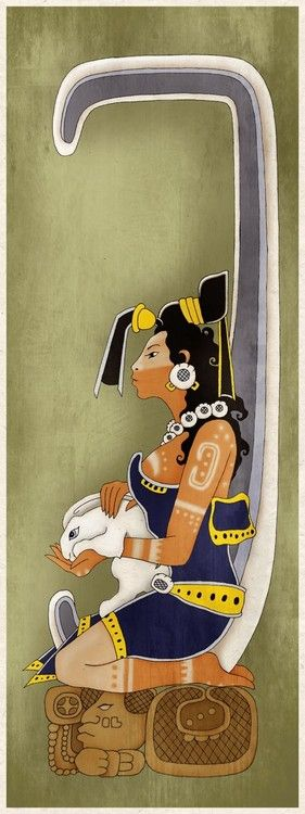 Ixchel, the aged jaguar goddess of midwifery and medicine in ancient Maya culture. According to Mayan mythology, Ixchel was married, but had other lovers. When her husband got very jealous of her, she made herself invisible to him and spent her nights assisting women in childbirth. As protector of mothers and children, she is often depicted as a maiden with a rabbit, a symbol of fertility and abundance.