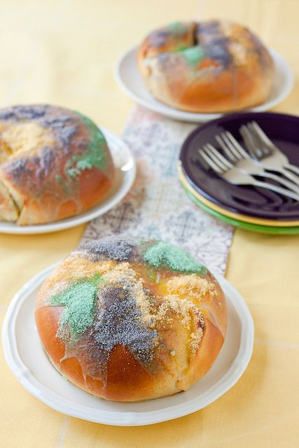 Individual king cakes with a lemon/cream cheese filling from Back to the Cutting Board