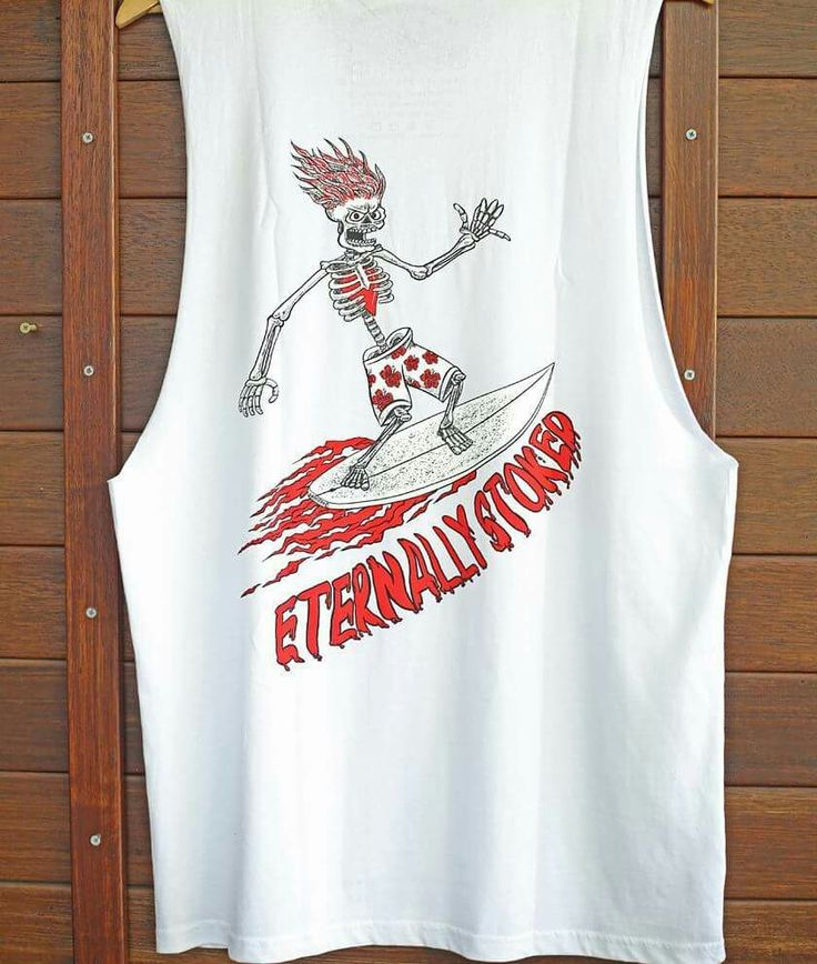 """""""Eternally Stoked """" surfing skeleton tank. Quality threads, pre-shrunk with cool internal printed tag for comfort and style.  Drawn to good vibes - Drawn Downunder visit www.drawndownunder.com"""