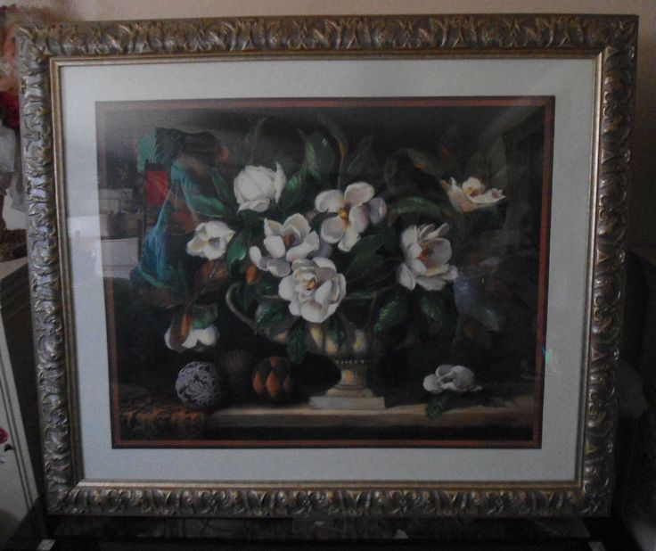 Details about Large Home Interiors Silver Framed Floral Magnolia