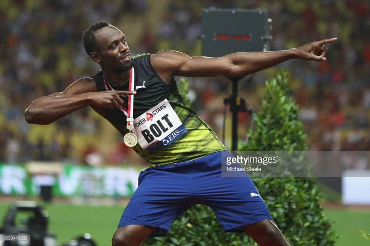Usain Bolt of Jamaica in familiar pose after victory in the men's 100m during the IAAF Diamond League Meeting Herculis on July 21, 2017 in Monaco, Monaco.