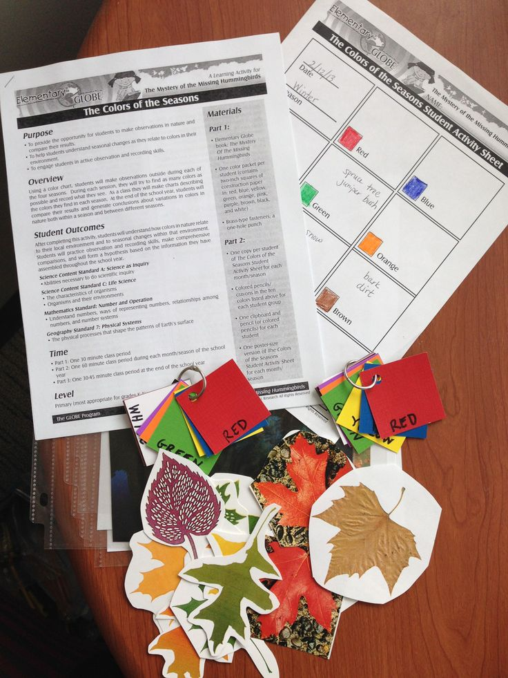 Track Seasonal Changes In Color With The Colors Of Seasons Learning Activity Free