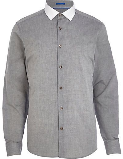 $30, Grey Chambray Contrast Collar Shirt by River Island. Sold by River Island. Click for more info: http://lookastic.com/men/shop_items/144113/redirect